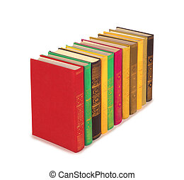 Books are arranged in a row on a white background