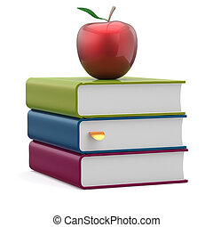 Books blank textbooks stack red apple education icon - Books...