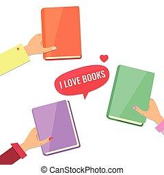 books., boekjes , liefde, concept., handen