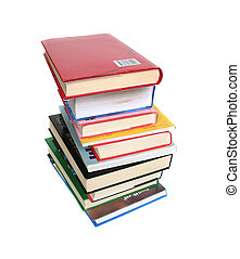 Lot of books on white background