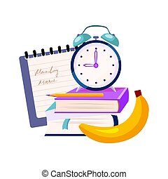 Books, Clock And Banana, Set Of School And Education Related Objects In Colorful Cartoon Style