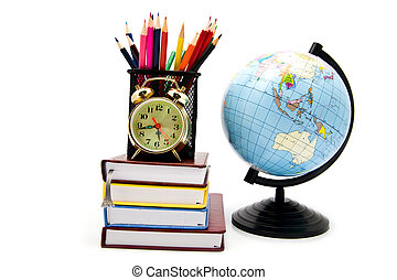 books, clock and globe
