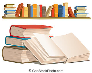 Collection of colorful books on white background.