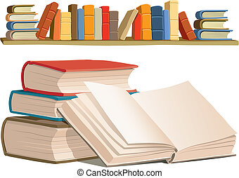 Collection of colorful books on white background, vector illustration