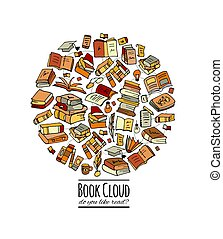 Books collection, sketch for your design
