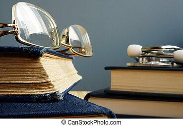 books., estetoscópio, education., diagnóstico, médico, óculos