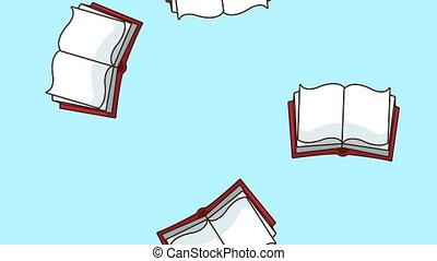 Books falling background HD animation - Books falling school...