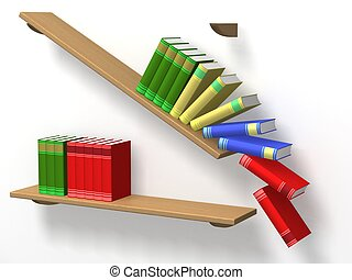 Books falling from a shelf. 3D image.
