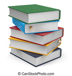 Books five 5 blank covers textbooks stack different colorful