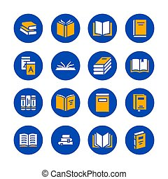 Books flat glyph icons. Reading, library, literature education illustrations. Signs for e-book store, textbook, encyclopedia. Solid silhouette pixel perfect 48x48. Blue white yellow color