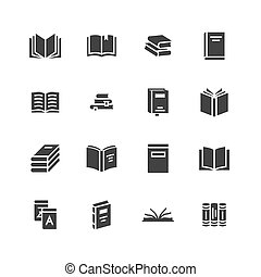 Books flat glyph icons. Reading, library, literature education vector illustrations. Signs for e-book store, textbook, encyclopedia. Solid silhouette pixel perfect 64x64