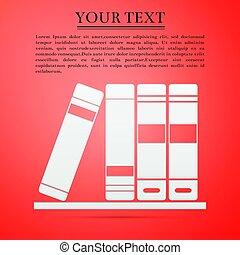 Books flat icon on orange background. Vector Illustration