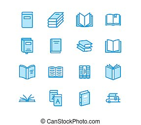 Books flat line icons. Reading, library, literature...