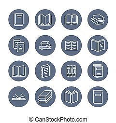 Books flat line icons. Reading, library, literature education illustrations. Thin signs for e-book store, textbook, encyclopedia. Pixel perfect 64x64. Editable Strokes