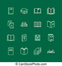 Books flat line icons. Reading, library, literature education vector illustrations. Thin signs for e-book store, textbook, encyclopedia