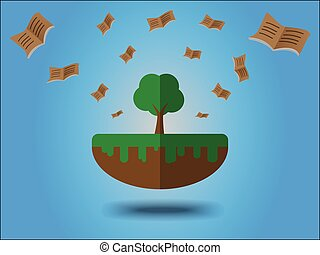 Books flying from large tree. Energy saving concept for earth day
