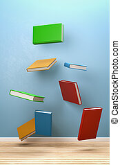 Books Flying in the Room