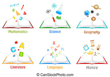 Books for different Subjects - illustration of books for...