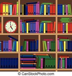 books., gevulde, planken
