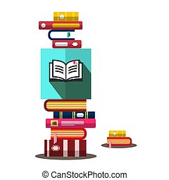 Books Heap in Bookstore. Vector Book Illustration.