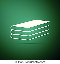 Books icon isolated on green background. Flat design. Vector Illustration