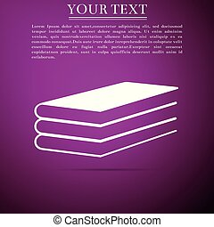 Books icon isolated on purple background. Flat design. Vector Illustration