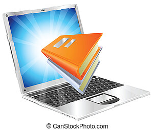 Book icon coming out of laptop screen concept for ebooks, reader apps, online database, elearning.