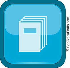 Books icon on a blue button