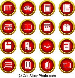 Books icon red circle set