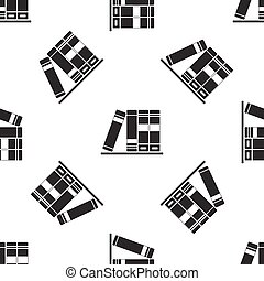Books icon seamless pattern on white background. Vector Illustration