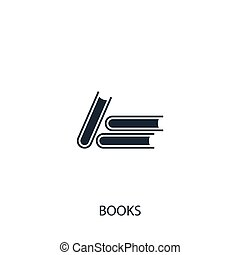 Books icon. Simple school element illustration. Vector symbol design from education collection. Can be used in web and mobile.