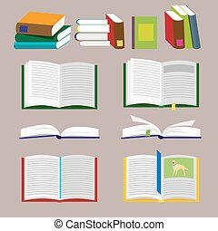 Books icons and library icons with brown background. Vector, illustration in flat style isolated on white background EPS10.