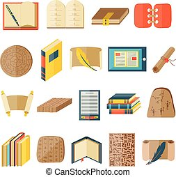 Book cartoon icons included normal typography library ...