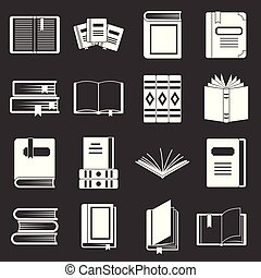 Books icons set grey vector