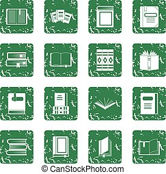 Books icons set grunge