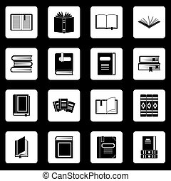 Books icons set squares vector