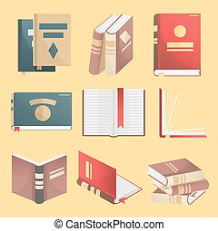 Books icons set. Vector illustration isolated