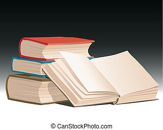 Books - Illustration of pile of books with one open book
