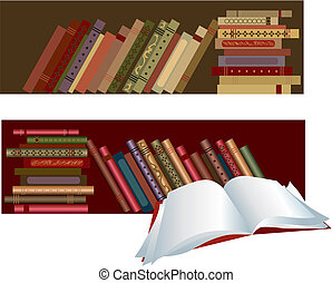 Books in the shelves, one book open