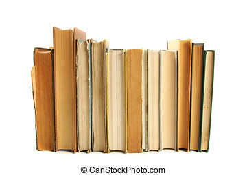 Books in a row isolated on white