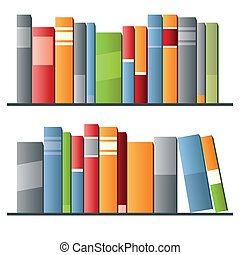 Books in a row on white background. Vector illustration