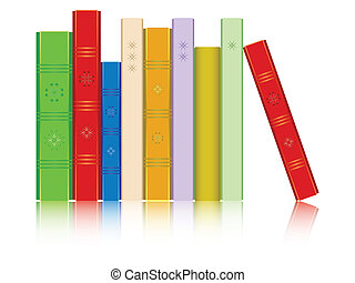 books in a row reflected against white background; abstract ...