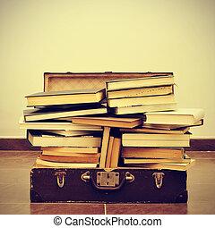 books in a suitcase