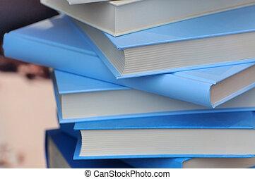 Books in blue cover