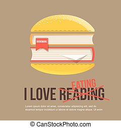 books in hamburger, icon in flat style.