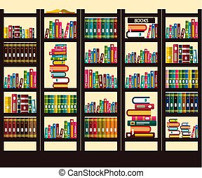 Books in Library. Vector Flat Design Illustration.
