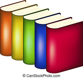 Books in multicolored covers