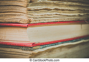 Books in the old cover close up - Ancient books. A bunch of...