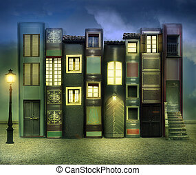 Books inhabited - Many books with windows doors lamps in a...
