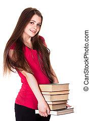 books., jonge, vrijstaand, achtergrond, meisje, witte